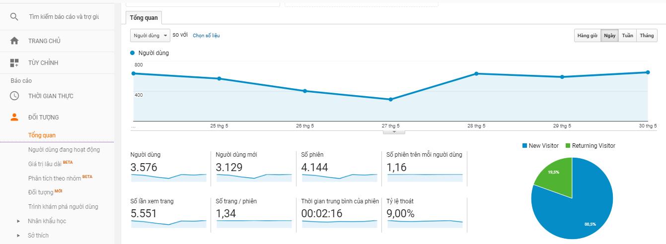 Các chỉ số về đối tượng trên Google Analytics