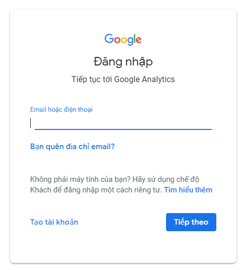 Đăng nhập vào tài khoản Gmail mà bạn muốn quản lý Google Analytics.