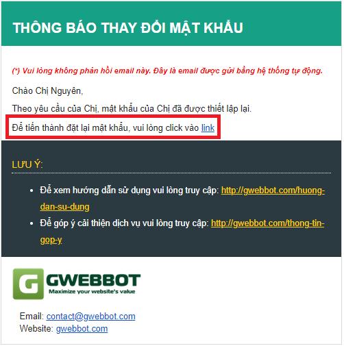 Mail gửi về khi quên mật khẩu gwebbot kiểm tra thứ hạng từ khóa