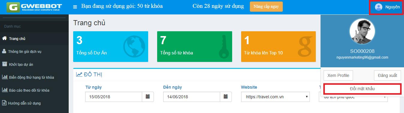 đổi mật khẩu kiểm tra thứ hạng từ khóa GWEBBOT