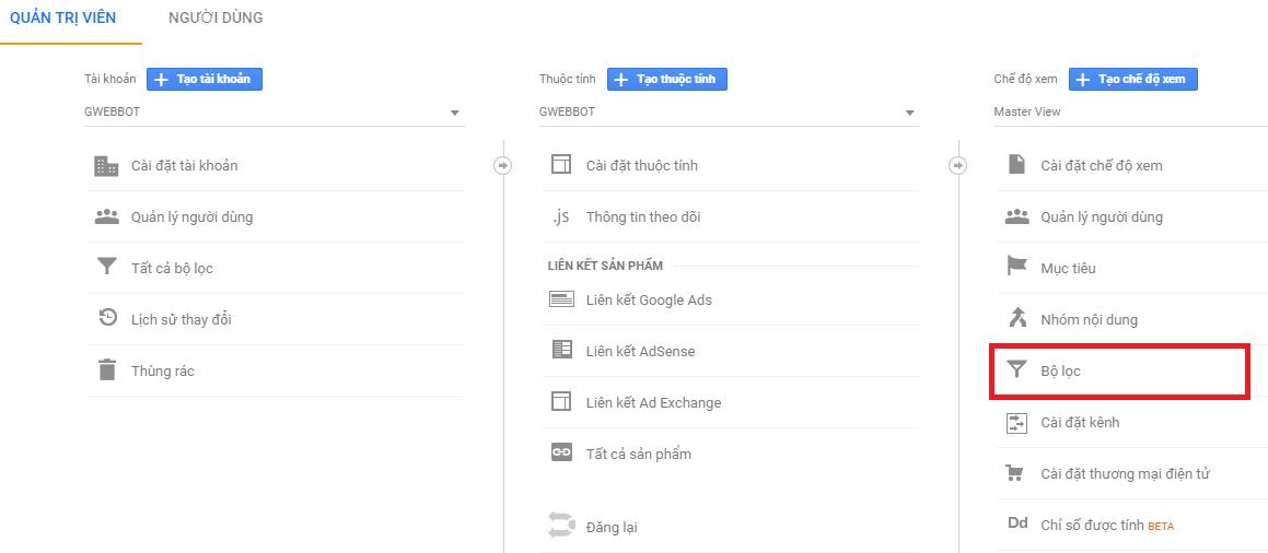 Bước 2 - Hướng dẫn cách thống kê Cốc Cốc vào Organic Search trên Google Analytics.