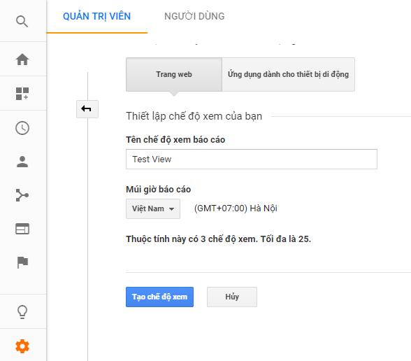 Tạo bản View mới hoàn toàn trên Google Analytics.