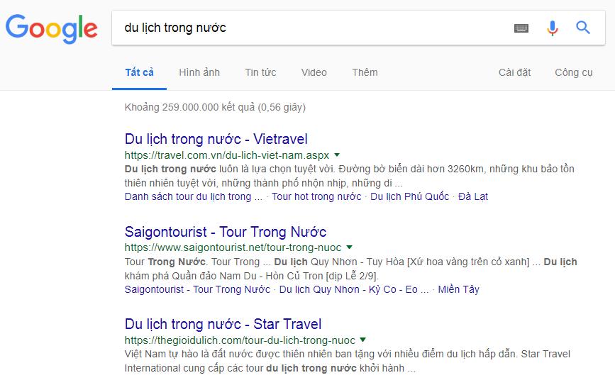 3 vị trí đầu tiên khi kiểm tra thứ hạng từ khóa trên Google.