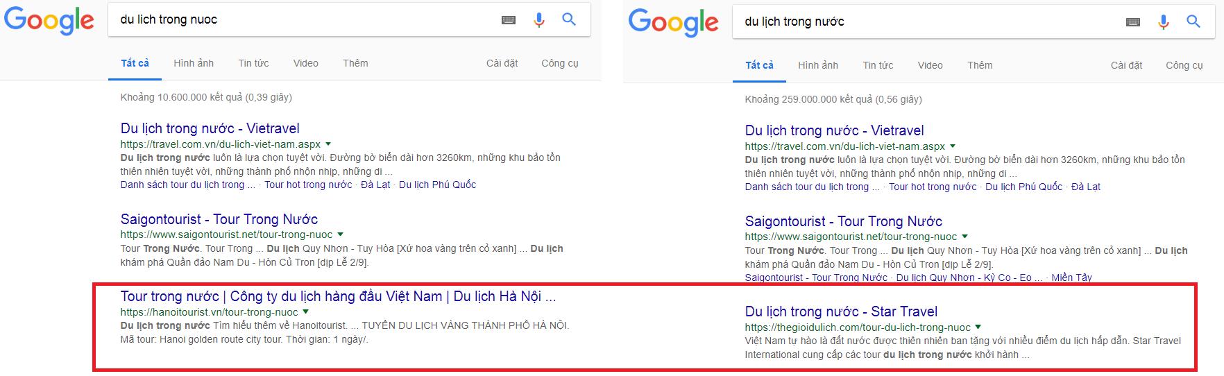 Kết quả kiểm tra thứ hạng từ khóa trên Google giữa từ khóa có dấu và từ khóa không dấu.
