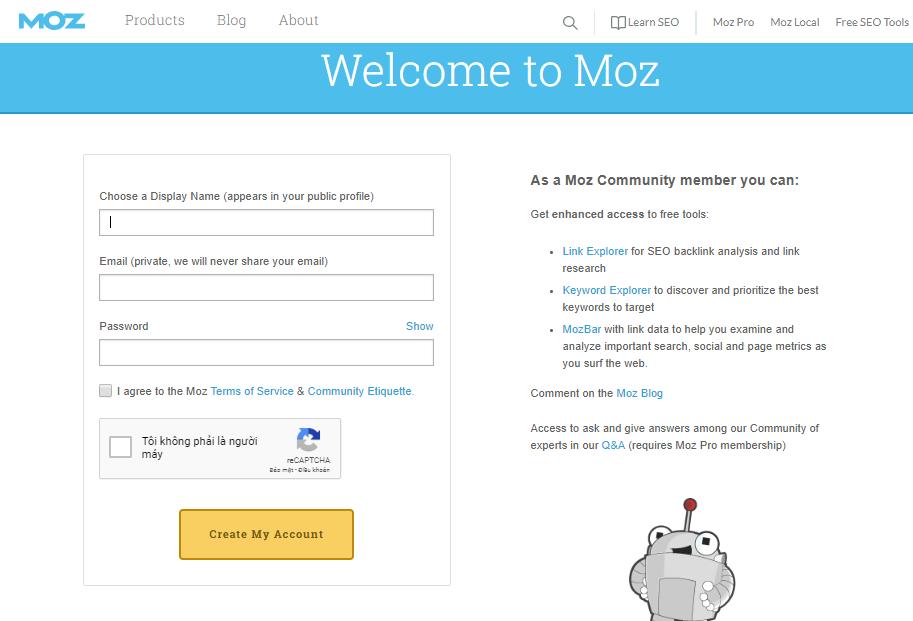 Kiểm tra website: tạo tài khoản Moz để đo độ tin cậy.