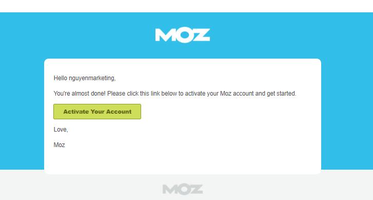 Kiểm tra website: xác nhận tài khoản Moz.