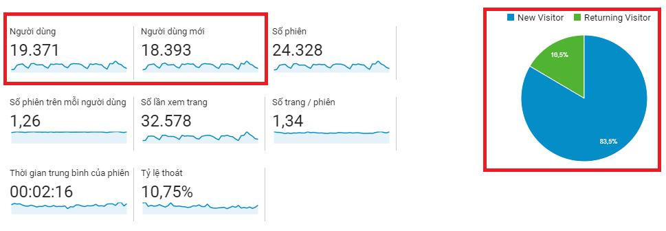 Đọc tỷ lệ người dùng mới – cũ trên Google Analytics.