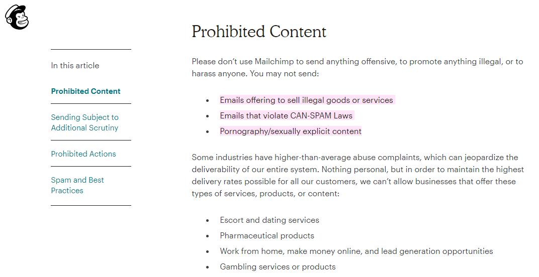 Tài khoản Mailchimp bị khóa do nội dung email phạm luật.