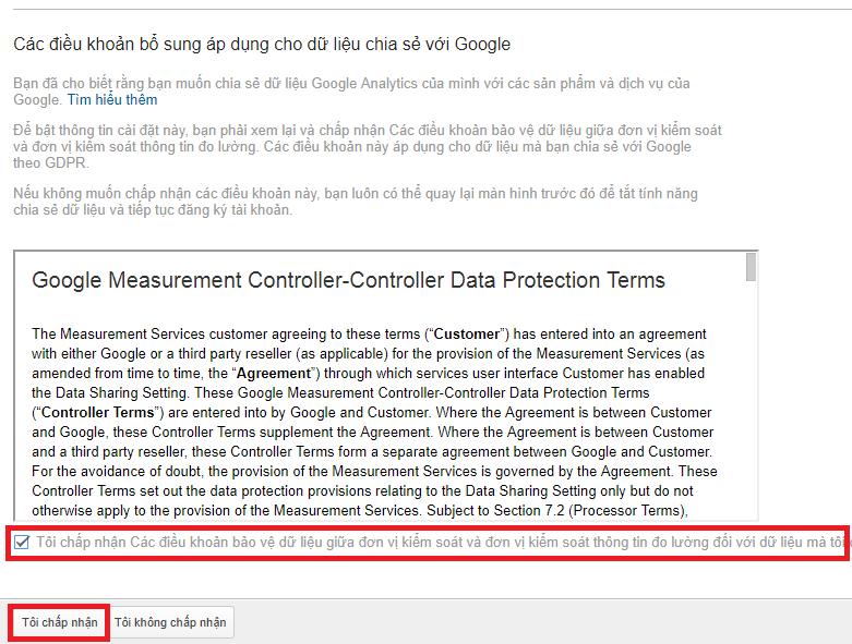 Chấp nhận điều khoản dịch vụ của Google Analytics.