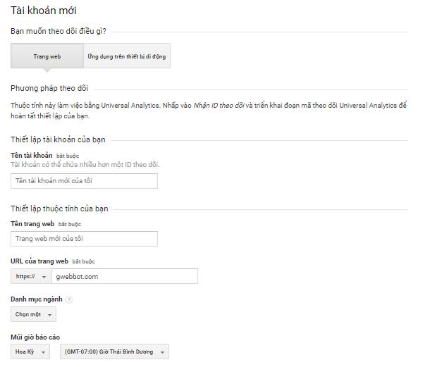 Tạo tài khoản Google Analytics.
